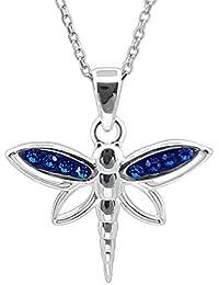 64edff0e0e0c Kiara Jewellery - Collar con colgante de libélula de plata de ley 925  incrustado con cristales de circonita cúbica azul en…