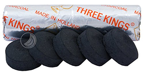 Shisha - Kohle Three Kings 33mm, 10 Kohletabletten Raeucherkohle