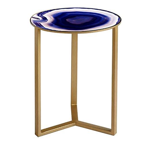 Lzz Moderne minimaliste créatif en fer forgé verre canapé salon chambre table ronde petite table d'appoint
