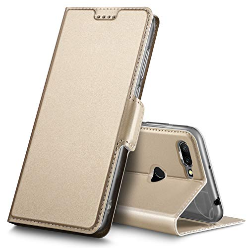 Geemai Xiaomi Redmi 6 Funda, Multi-ángulo Slim Protectora PU Funda para Xiaomi Redmi 6 Smartphone.(Oro)
