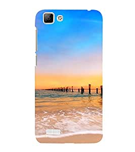 PrintVisa Travel Beach Sunset Design 3D Hard Polycarbonate Designer Back Case Cover for Vivo V1