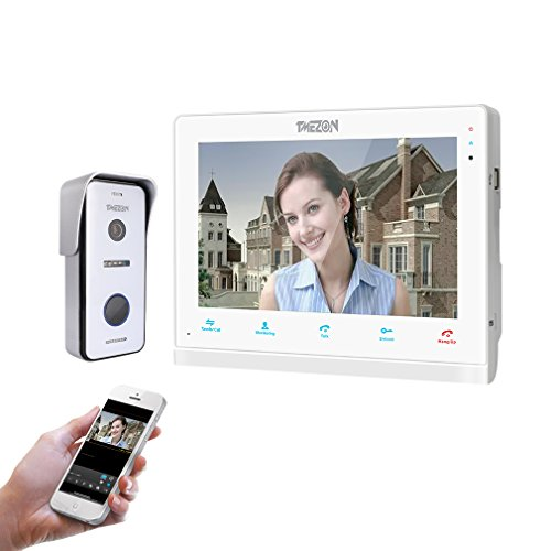TMEZON IP Wifi Videocitofono Intercom, 10 pollici Monitor touch-screen,720P Campanello Telecamera cablata Visore notturno,conversazione/visualizzazione,salvataggio,monitor/istantaneo via smartphone