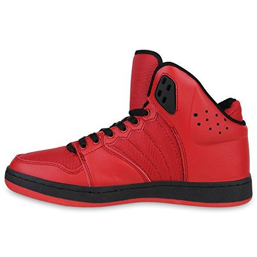 Damen Herren Cultz Basketballschuhe Sportschuhe Sneakers Rot Schwarz Brito