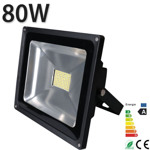 [Himanjie]80W LED Fluter SMD Lampe 7000-7500lm Wandstrahler Spots warmweiss warmlicht Strahler Scheinwerfer LED Flutlicht Außenstrahler Gartenstrahler (warmweiß)