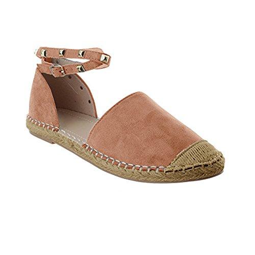 Ausgeschnitten Schnalle (Gemijacka Damen Knöchel Schnalle Riemen Espadrilles Ausgeschnitten Binden Niet Klassischen Sommer Flache Sandale Schuhe (42, 2-Rosa))