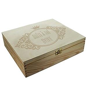 Boîte à thé 12 compartiments gravée d'un motif royal et d'un texte