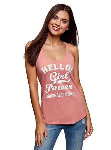 oodji Ultra Mujer Camiseta de Tirantes de Algodón con Inscripción, Rosa, ES 46 / XXL