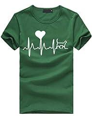 5676f9125 FRAUIT Blusa Suelta De Mujer Manga Corta Camiseta con Estampado De Corazones  Tops Casuales Camisa del