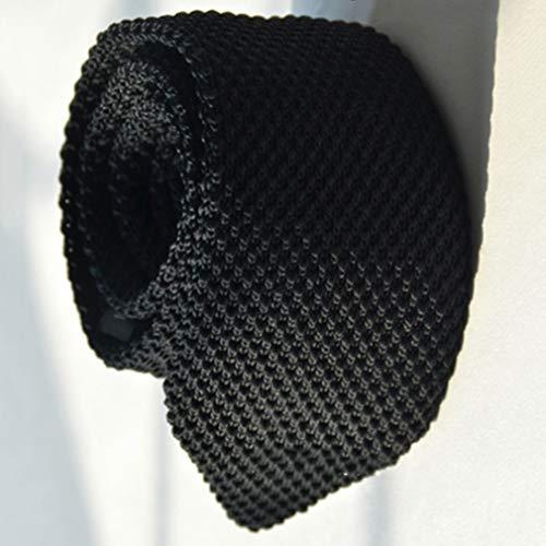 HYhy Hochwertige Herrenmode Krawatte Knit Gestrickte Krawatte Dünne Dünne Gewebt Casual Melange Plain Speckled Dünne Krawatte, schwarz (Plain Krawatten Männer)