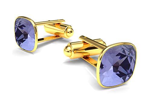 Beforya paris* aghi per polsi - diamond's depth - colori varianti - argento 925 placcato oro 24 k - eleganti gemelli da uomo in argento sterling 925 swarovski elements regalo e argento, colore: tanzan