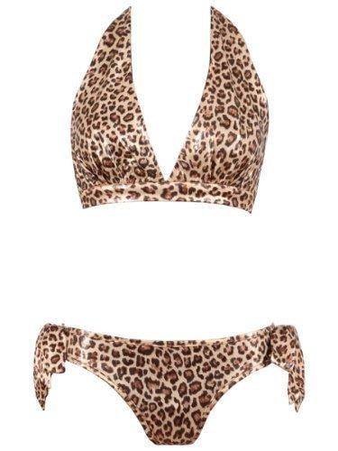 Zebra Leopard Cheetah Animal Print Halterneck Side Tie Bikini Swimsuit 6 8 10 12 (S (6-8), LEOPARD) by NA (Print-zebra-bikini)