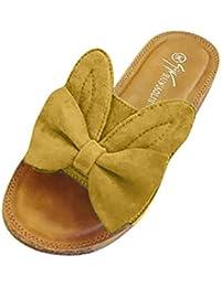 Sandalias planas de playa de verano para las mujeres damas, lindo conejo oreja Bowknot cómodo abierto peep toe… HhGold Zapatos de Corte ...