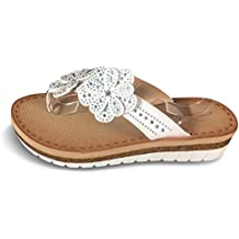 Damen Sandalen Fußbett Komfort Sandaletten Zehentrenner Glitzer Nieten BY4 (40, Weiß)