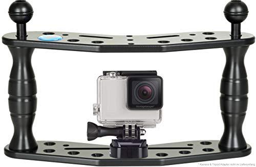 Hydronalin Action Cam Stick Rig Tauchstativ Halterung : stabile Aufnahmen : Kameraschiene, Schwarz, 2 x 24mm Kugel