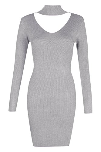 Damen Grau Holly Pulloverkleid Aus Rippstrick Mit Kropfband Grau