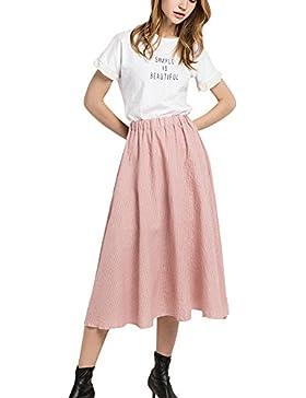 Mujer Maxi Falda Plisada de Cintura Alta Faldas Largas Falda Grande