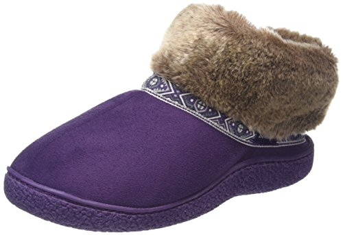 Isotoner - Pillowstep Bootie With Fur Cuff And Tape Trim, Pantofole Donna Viola (Viola (Purple))