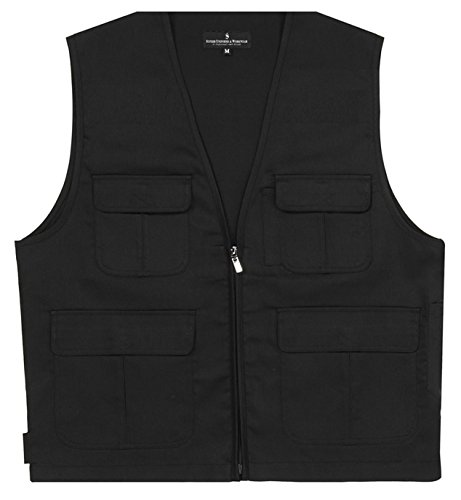 Superb Uniforms Multipurpose outdoor vest jacket, 4 pockets, Also used as photographer jackets for men, Black safety vest jacket, Velcro adjuster, heavy duty YKK zipper, 100% Cotton Twill 240 GSM