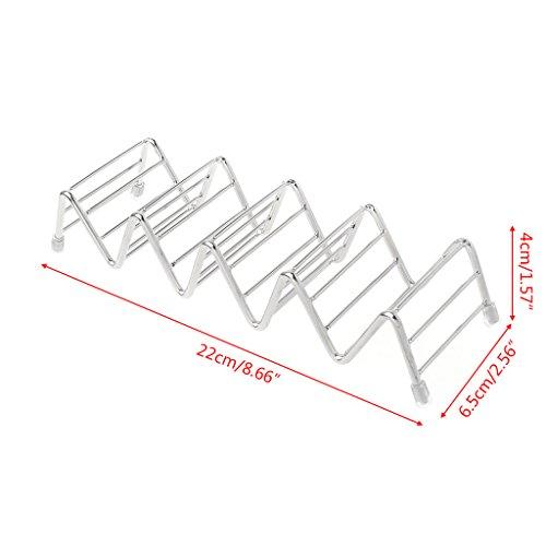 Xuniu 5 Slots Größe Welle Form Edelstahl Taco Halter Steht Rack Shells für Tacos, Sandwiches, Brot, Hot Dogs, Etc 22x6,5x4 cm / 8,66x2,56x1,57