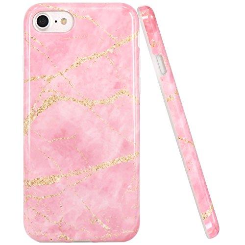 iPhone 7 Hülle, iPhone 8 Hülle, JIAXIUFEN Glänzend Rose Gold Gray Marmor Design Soft TPU Silikon Schutz Handy Hülle Handytasche HandyHülle Case Cover Schutzhülle für Apple iPhone 7 /iPhone 8 Pink Gold