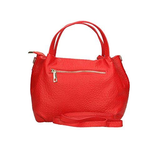 Chicca Borse Borsa a tracolla in pelle 30x 19x 15 100% Genuine Leather Rosso