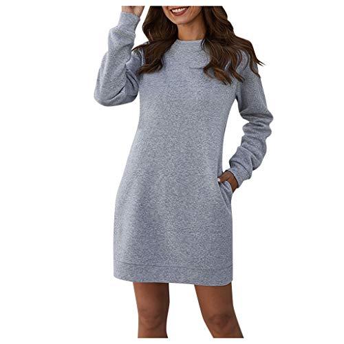 TEFIIR Pullover Damen Casual Rundhals Langarmshirt Oversize Einfarbig Bluse Jumper Tunika Sweater Turtleneck Langarm Shirts Bluse Elegant Hemd Tops