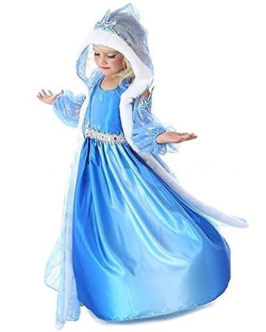 Vogueeasy Frozen Eiskönigin Prinzessin Kostüm Kinder Glanz Kleid Mädchen Weihnachten Verkleidung Karneval Party Halloween Fest Kostüm