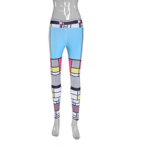 Donna stampata sport yoga workout palestra fitness Leggings Pantaloni atletico vestiti Elastici Ghette Delle Donne Pantaloni Della Tuta Scarni Pantaloni Jogging Morwind Blu