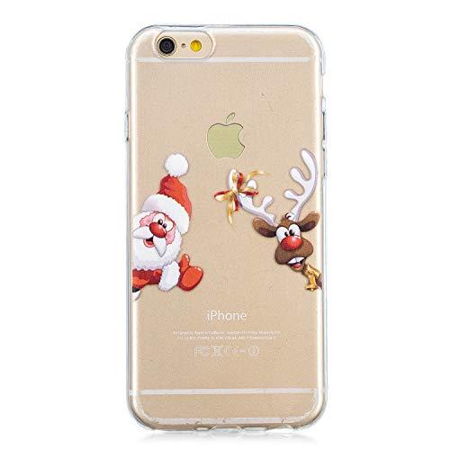 Artfeel Weihnachten Hülle für iPhone 6 Plus,iPhone 6S Plus Hülle, Weihnachtsmann und Hirsch Muster klar Weich Silikon Handyhülle,Ultra Dünn Leicht Transparent Flexibel TPU Bumper Stoßfest Schutzhülle -