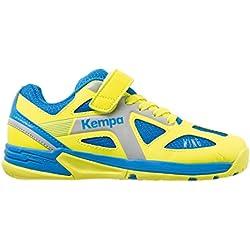 Kempa Wing Junior, Zapatillas de Balonmano Unisex Niños, Azul (Bleu Cendré/Jaune Spring), 37 EU