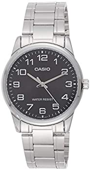 Casio Men's Black Dial Stainless Steel Band Watch - MTPV001