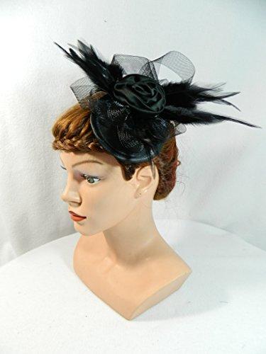 Fascinator schwarz Gothic Headpiece Hütchen Kopfschmuck Swing Party Gatsby Retro Burlesque