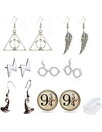PPX 6 Paires HARRY POTTER Symbols Set de Boucles d'oreilles Couleur Argent,avec Boîte à Bijoux