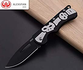 Alexvyan 2030 Ghost Design Travel Pocket Folding Knife with Metal Handle, Stainless Steel Blade and 9cm Liner Closed Lock(Black)