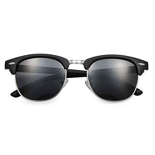 Yveser Polarisierte Sonnenbrille für Männer & Frauen (Schwarze Linse/Schwarze Matte Rahmen)
