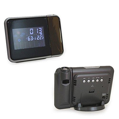 Projektions-Wecker mit Wetterstation, Woopower Digital Snooze-Wecker mit LED-Anzeigen-Hintergrundbeleuchtung-Stützdatum, Thermometer, Feuchtigkeit