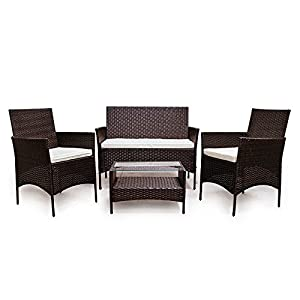 LD Poly Rattan Lounge Sofa Set Polyrattan Garden Furniture Brown
