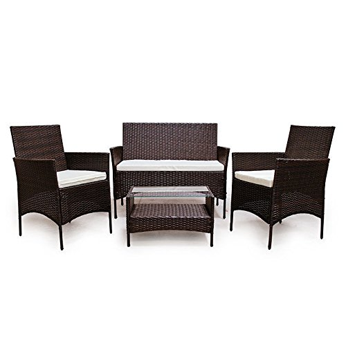 LD Poly Rattan Lounge Sofa Set Polyrattan Garden Furniture Brown
