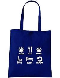 T-Shirtshock - Bolsa para la compra T0743 weed eat weed love sleep repeat fun cool geek