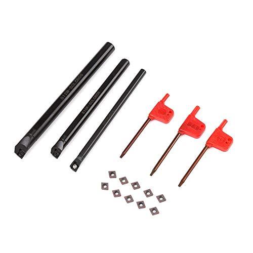 Set di utensili per tornio CNC, barra di torsione interna del supporto del foro del tornio SCLCR + inserto CCMT0602 da 10 pezzi + chiave da 3 pezzi