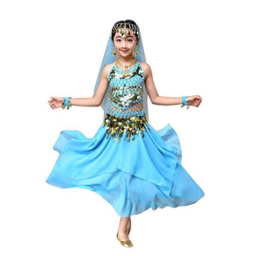 (Hunpta Kinder Mädchen Bauchtanz Outfit Kostüm Indien Dance Kleidung Top + Rock (136~150cm, Blau))