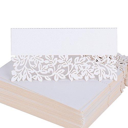 100 pz 9*4.4cm segnatavolo di carta merletto bianco perlato segnaposti segnabicchiere decorazione per martimonio festa compleanno nascita