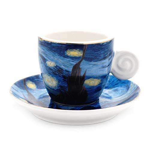ZKGHJOKZ Becher Tasse Die sternenklare Nacht-Reihen-Kunst-Ölgemälde-Cappuccino-Latte-Kaffeetasse-Behälter-Espresso-Becher-Grafik-Café Drinkware