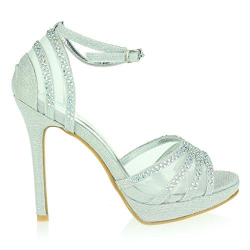Frau Damen Zwei Teil Offener Zeh Fesselriemen Plattform Diamant Dünn Hoher Absatz Abend Party Hochzeit Abschlussball Braut Sandalen Schuhe Größe Silber