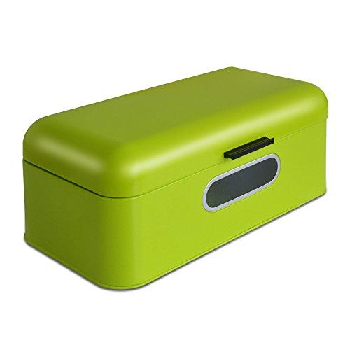 Brotkasten Mika mit Sichtfenster | Brotbox im Retro Design aus Metall | optimale Luftzirkulation | Limettengrün – in zwei Größen (B/T/H: 30,2x18,5x16 cm)