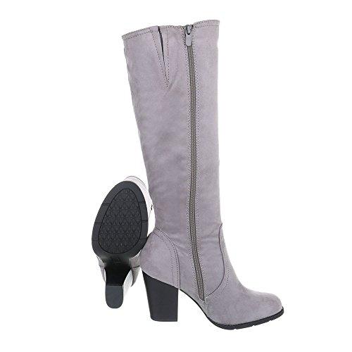 Ital-design Chaussures Femme Bottes À Talon Kitty Gris Bottes À Talons 158-gg