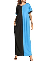 Zhuhaitf Casual Suelto Playa Color de Golpe Vestido árabe Medio Este Manga Corta Bolsillos Largo Maxi
