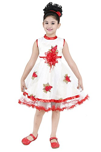 YAYAVAR Girls Net Made White & Red Colored Casual/Party Wear Frock for...