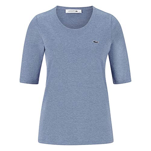 Lacoste Damen Baumwoll-hemden (Lacoste TF5621 Damen T-Shirt Rundhals,Frauen Basic Tshirt,Tee,Regular Fit,Cruise Blue Chine(ACA),34)