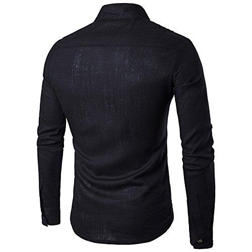 2017 Neu Sunshey Herren Langarmes Hemd B17 mit Stehkragen und Knöpfen, Leinen und Einfarbig Freizeithemd Causal und Modern Schwarz